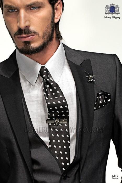 Black-white skull tie and handkerchief 56506-4140-8000 Ottavio Nuccio Gala.