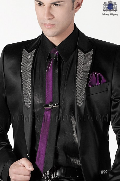 Black and prune lurex tie and handkerchief 56521-2645-8036 Ottavio Nuccio Gala.