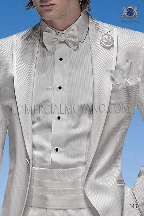 White lurex handkerchief 15018-2645-1000 Ottavio Nuccio Gala.