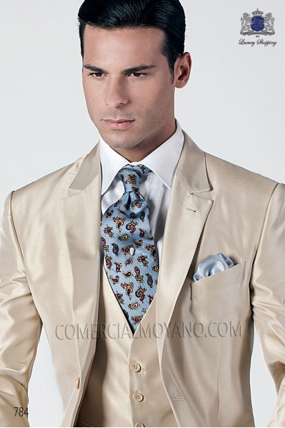 Sky blue tie with design 10103-1920-5500 Ottavio Nuccio Gala.