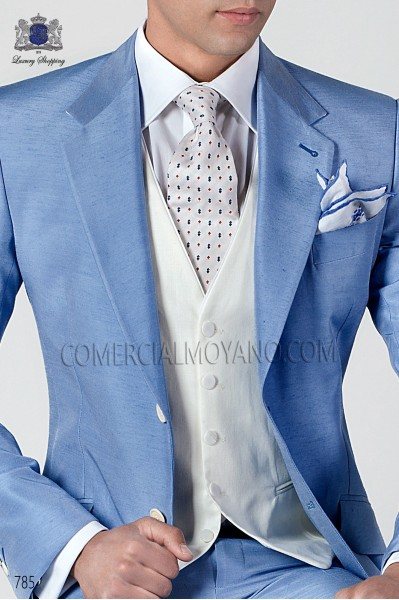 White silk tie with design 10103-2649-1000 Ottavio Nuccio Gala.