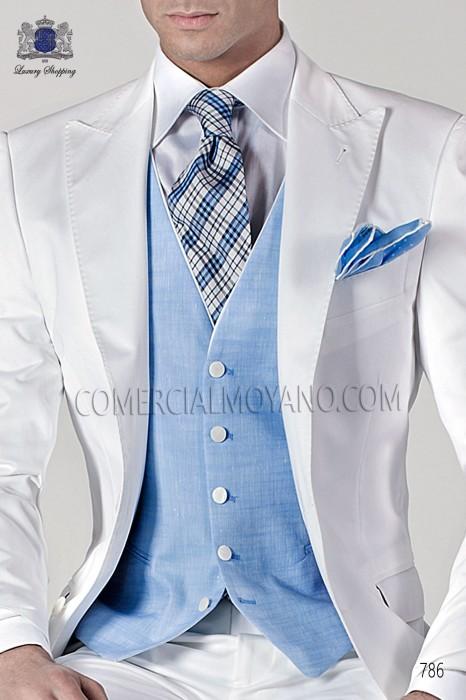 Sky blue linen handkerchief 15018-2519-5600 Ottavio Nuccio Gala.