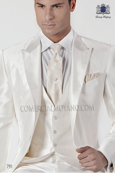 Ivory cashmere tie and handkerchief 56502-2901-1300 Ottavio Nuccio Gala.