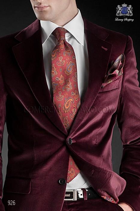 Red jacquard silk tie 10113-1714-3000 Ottavio Nuccio Gala.