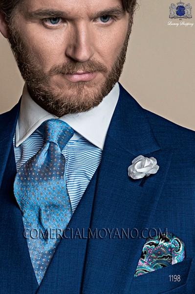 Pañuelo de bolsillo en cashmiere azul 15019-2879-5600 Ottavio Nuccio Gala.