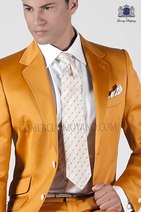 Golden-ivory silk tie and handkerchief 56503-1904-1300 Ottavio Nuccio Gala.