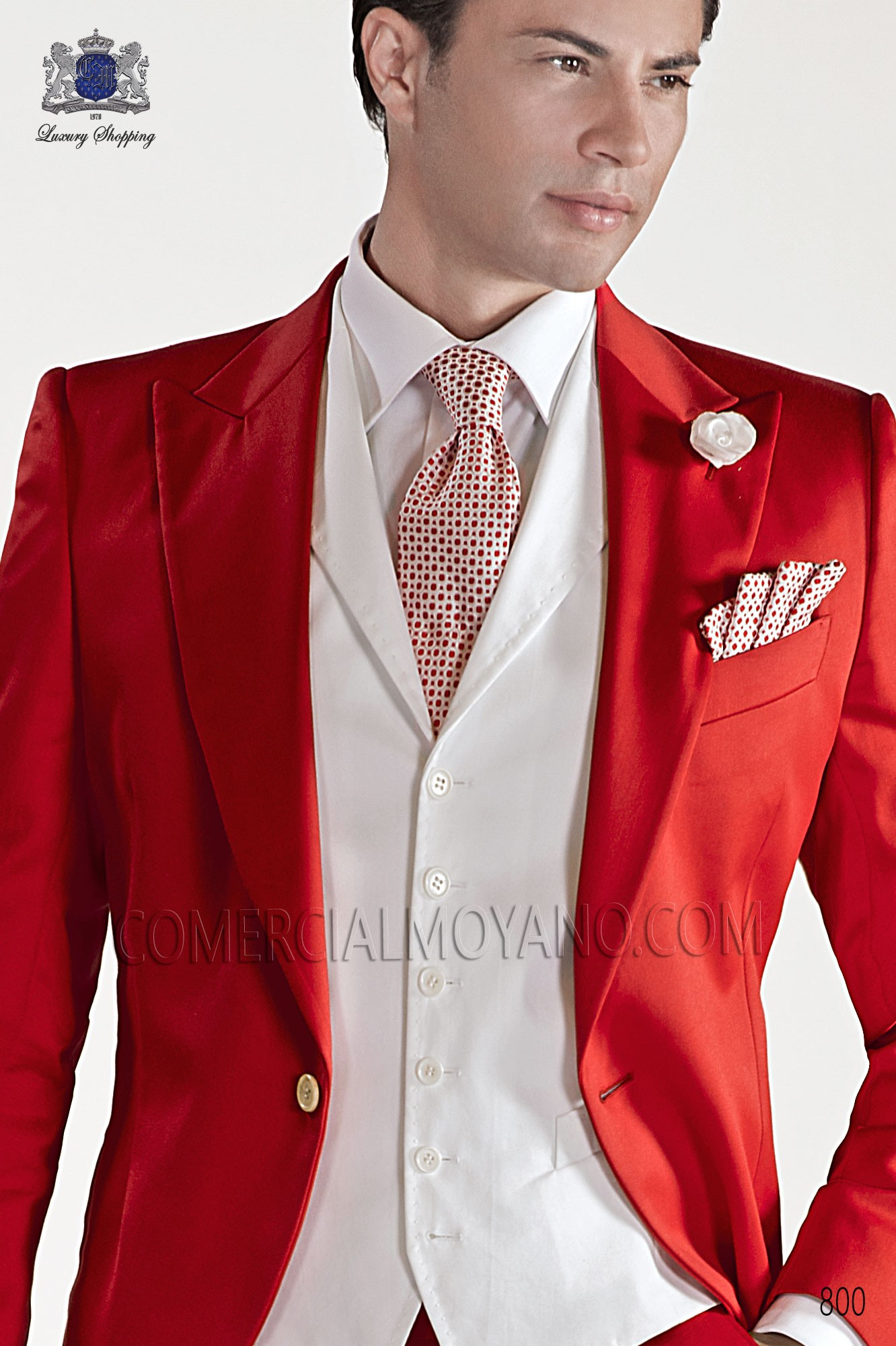 Red/white silk tie and handkerchief, Ottavio Nuccio Gala.