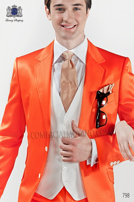 Orange silk tie and handkerchief 56503-2843-2800 Ottavio Nuccio Gala.