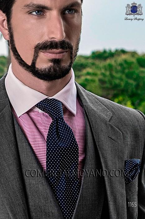 Silk tie with blue polka dots 10102-2846-5100 Ottavio Nuccio Gala.