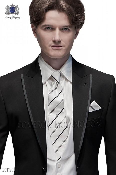 White striped silk tie and handkerchief set 56502-2703-1000 Ottavio Nuccio Gala.
