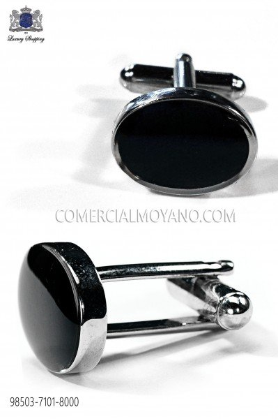Black oval cuff links 98503-7101-8000 Ottavio Nuccio Gala.