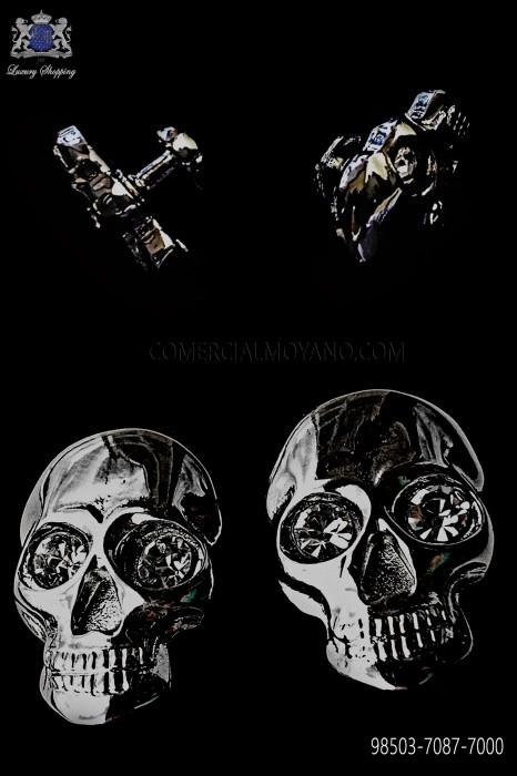 Dark silver skull cufflinks 98503-7087-7000 Ottavio Nuccio Gala.