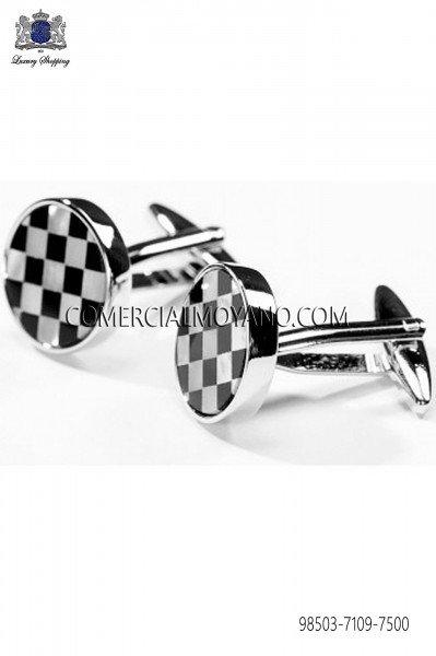 Draughts design cufflinks 98503-7109-7500 Ottavio Nuccio Gala.
