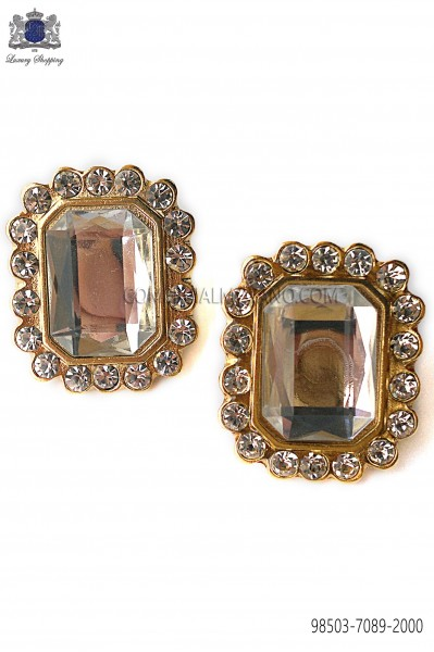Gold rectangular baroque cufflinks 98503-7089-2000 Ottavio Nuccio Gala.