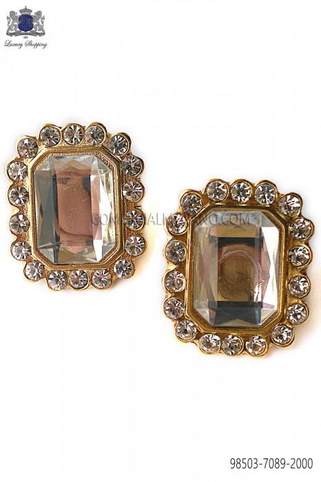 Gold rectangular baroque cufflinks 98503-7089-2000 Ottavio Nuccio Gala.