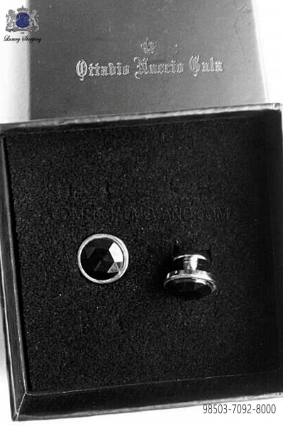 Boton gemelo cristal negro 98503-7092-8200 Ottavio Nuccio Gala.