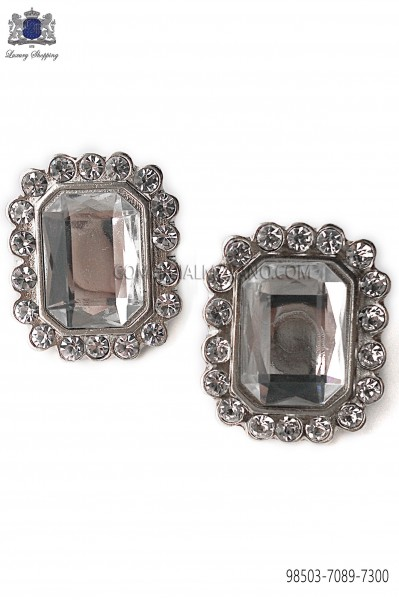 Nickel rectangular cufflinks Baroque-style 98503-7089-7300 Ottavio Nuccio Gala.