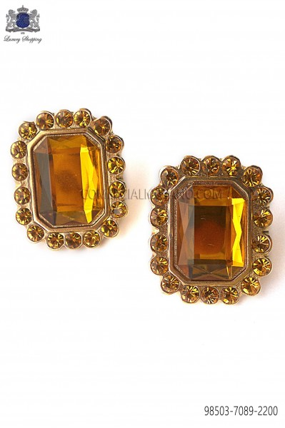Gold rectangular baroque cufflinks with topaz jewel 98503-7089-2200 Ottavio Nuccio Gala.