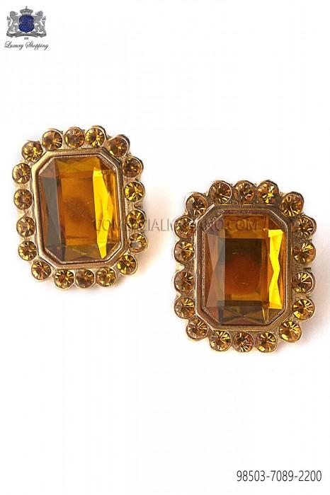 Gold rectangular baroque cufflinks with topaz jewel 98503-7089-2200 Ottavio Nuccio Gala.