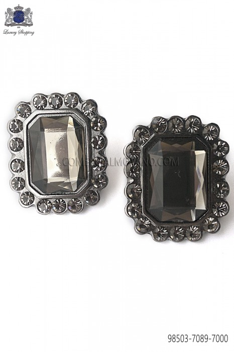 Gunmetal grey rectangular cufflinks Baroque-style 98503-7089-7000 Ottavio Nuccio Gala.
