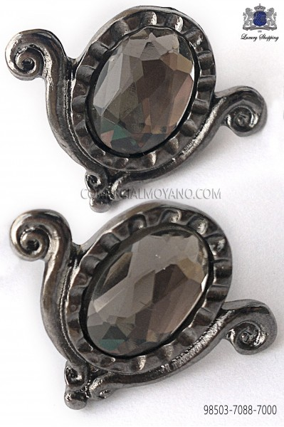 Gunmetal grey drop cufflinks 98503-7088-7000 Ottavio Nuccio Gala.