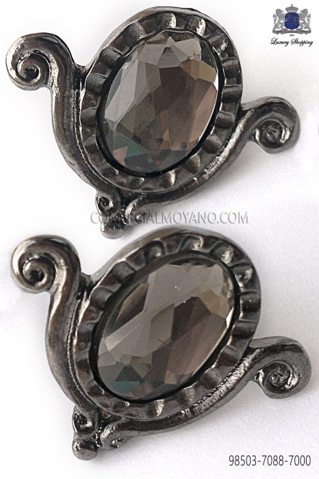 Gunmetal grey drop cufflinks 98503-7088-7000 Ottavio Nuccio Gala.