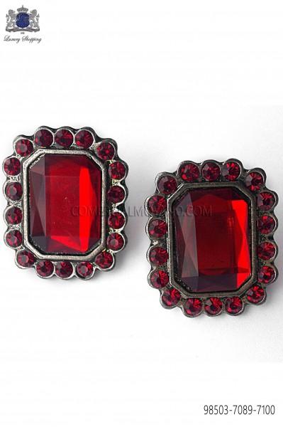 Gemelos barroco rectangular con strass rojo 98503-7089-7100 Ottavio Nuccio Gala.