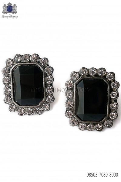 Rectangular cufflinks Baroque-style with black jewel