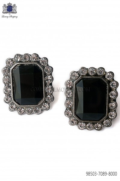 Rectangular cufflinks Baroque-style with black jewel 98503-7089-8000 Ottavio Nuccio Gala.