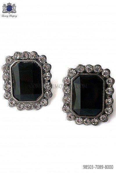 Gemelos barroco rectangular con piedra negra 98503-7089-8000 Ottavio Nuccio Gala.