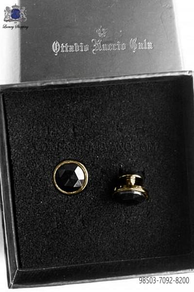 Boton gemelos con cristal negro 98503-7092-8000 Ottavio Nuccio Gala.
