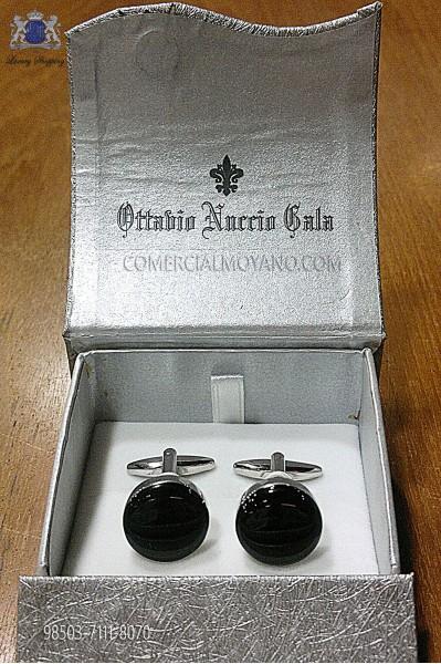 Round black cufflinks 98503-7111-8070 Ottavio Nuccio Gala.