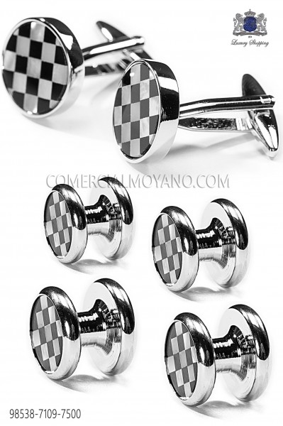 Set buttons and black draughts cufflinks 98538-7109-7500 Ottavio Nuccio Gala.