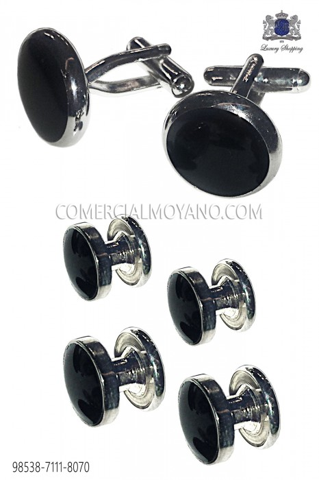 Set buttons and black convex cufflinks 98538-7111-8070 Ottavio Nuccio Gala.