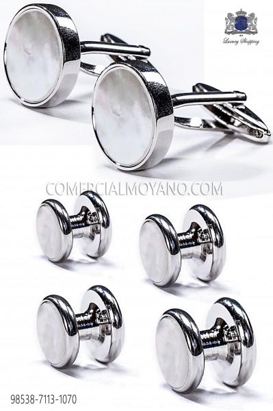 Set botones y gemelos redondos madre perla 98538-7113-1070 Ottavio Nuccio Gala.