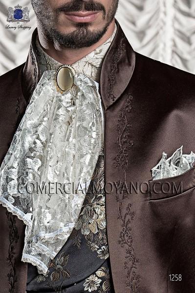 Ivory-white plastron tie with handkerchief 56546-2753-1200 Ottavio Nuccio Gala.