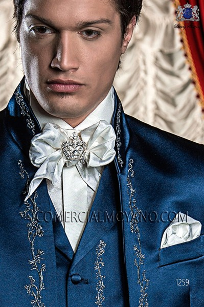 White satin jacquard foulard with handkerchief 56534-2785-1000 Ottavio Nuccio Gala.