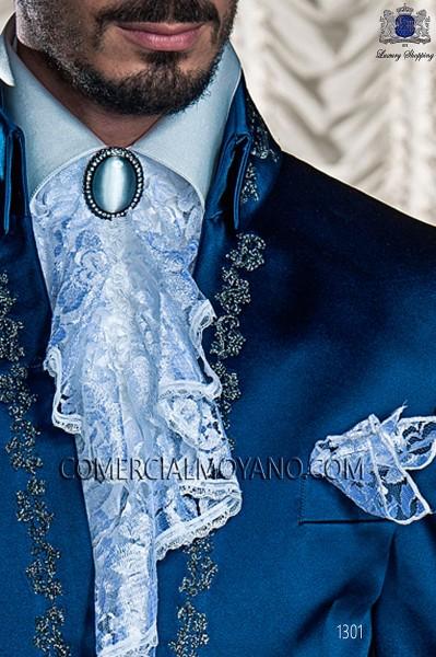 White Pre-tied tie with handkerchief 56547-2753-1000 Ottavio Nuccio Gala.