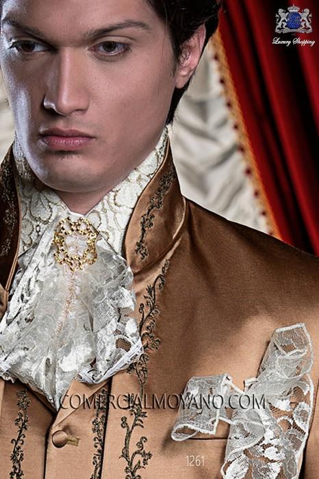 Ivory pre-tied tie with handkerchief 56547-2753-1200 Ottavio Nuccio Gala.