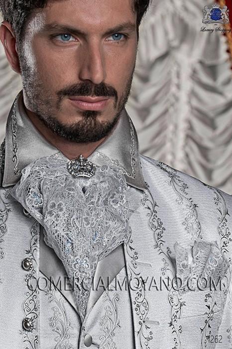 White-silver lace plastron tie with handkerchief 56546-2754-7000 Ottavio Nuccio Gala.