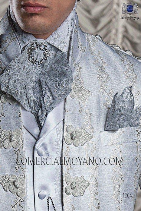 Silver lace pre-tied tie with handkerchief 56547-2754-7000 Ottavio Nuccio Gala.