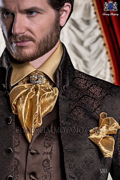 Gold lace foulard with handkerchief 56543-2766-2200 Ottavio Nuccio Gala.