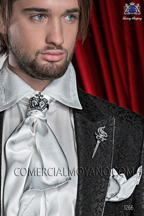 White satin foulard with handkerchief 56534-1328-1100 Ottavio Nuccio Gala.