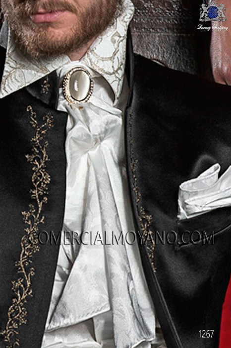 Ivory satin jacquard foulard with handkerchief 56534-2785-1200 Ottavio Nuccio Gala.