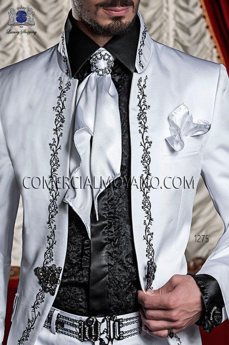 White satin foulard and handkerchief set 56534-1328-1000 Ottavio Nuccio Gala.