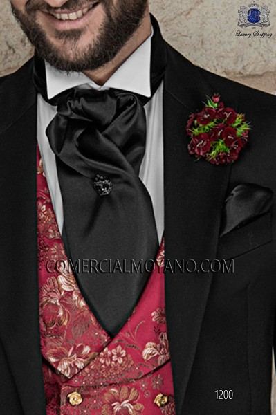Black satin foulard and handkerchief set 56534-1328-8000 Ottavio Nuccio Gala.