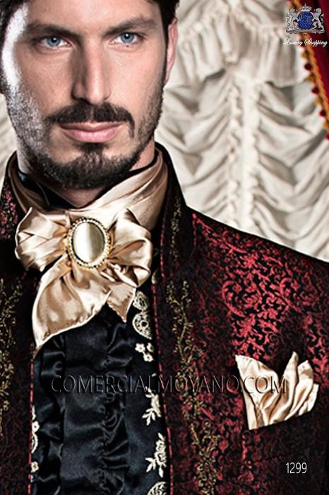 Gold satin foulard and handkerchief set 56534-1328-2200 Ottavio Nuccio Gala.