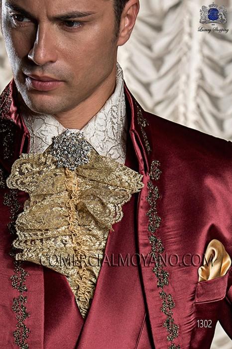 Gold lace plastron tie 10247-2756-2000 Ottavio Nuccio Gala.
