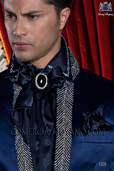 Blue satin foulard and handkerchief set 56534-4136-5000 Ottavio Nuccio Gala.