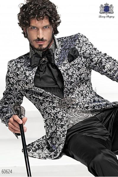 Black satin jacquard foulard with handkerchief 56534-2785-8000 Ottavio Nuccio Gala.